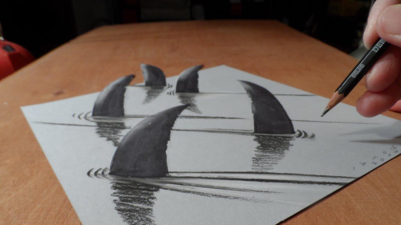 How I Draw 3d Sharks Youtube