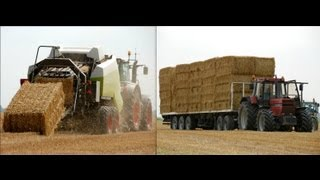 Stro persen en laden met Fendt 936 Vario / International 1455 XL Baling straw Pressen - Veerman