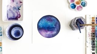 Painting a galaxy - constellation with watercolor by CreativeIngrid
