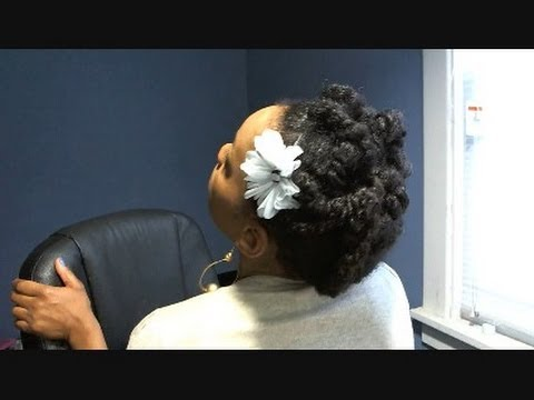 Protective Hairstyles / Pinned Updo Natural Hairstyle feat. White Psychedelic Fl