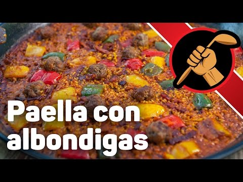 Испанская паэлья с фрикадельками paella con albondigas