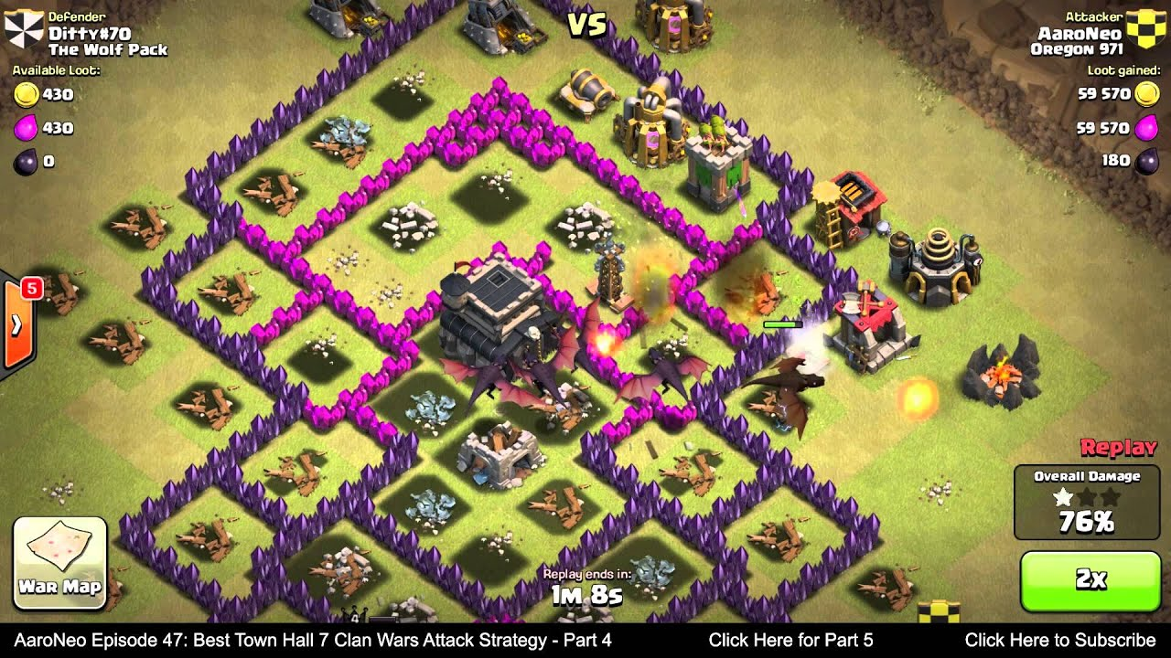 Best town hall level 7 th7 clan wars attack strategy part 4