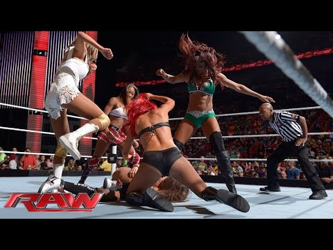 Nikki Bella vs. Alicia Fox, Eva Marie, Cameron & Rosa Mendes - 4-on-1 Handicap Match: Raw, July 21,