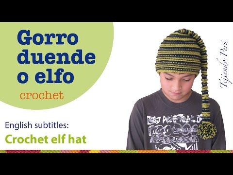 Cómo tejer un gorro de duende o elfo a crochet - English subtitles: crochet elf hat