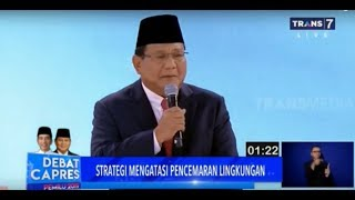 Strategi Prabowo Mengatasi Akar Masalah Pencemaran Lingkungan | DEBAT CAPRES KEDUA PILPRES 2019