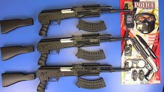 Guns Toys 3 Black Kalashnikov AK-47 ! Toys for Kids Gun Toy - Box of Toys