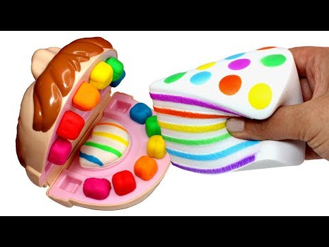 Mr Play Doh Johny Johny Yes Papa Making Rainbow Squishy Toy Cake & Kinetic Sand Ice Cream for Kids