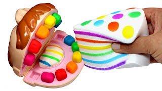 Mr Play Doh Johny Johny Yes Papa Making Rainbow Squishy Toy Cake & Kinetic Sand Ice Cream for Kids