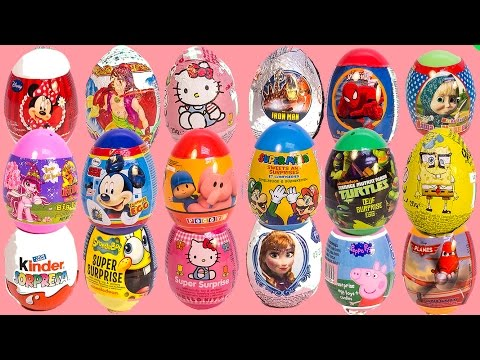 SURPRISE EGGS ANGRY BIRDS PEPPA PIG MICKEY MOUSE FROZEN SPIDERMAN SUPER MARIO PLAY DOH EGGS