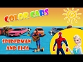 Learn Colors with Long Cars for Kids with Spiderman Cartoon and Elsa Cartoon for Children Baby