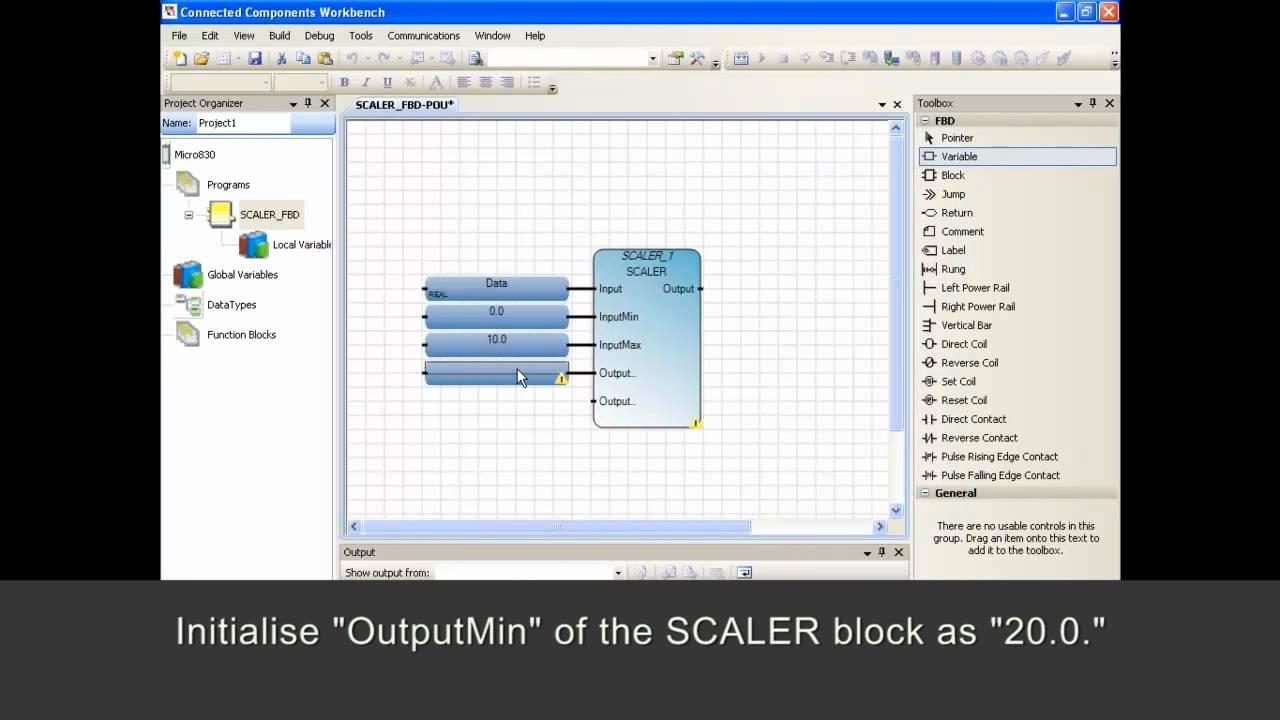 Micro800 Programming - Use Scaler Instruction In Function Block Diagram Program
