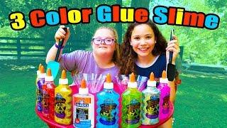 3 Colors Of Glue SLIME CHALLENGE!!! (Sarah Grace vs Sierra Haschak)