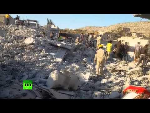 Aftermath Footage: Night airstrikes devastate village in Syria