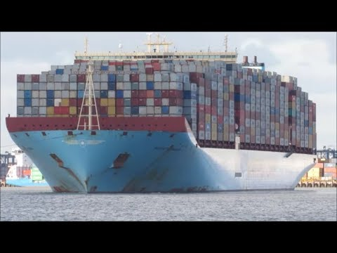 Fully loaded Majestic Maersk departs Felixstowe with help of two 3212 Svitzer tugs 27.10.17