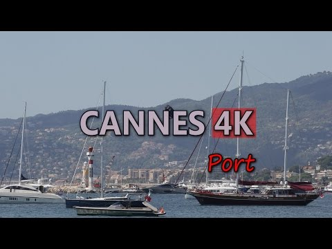 Ultra HD 4K Cannes Travel France Tourism Harbor Port Luxury Yachts Cruise Ships Video Stock Footage