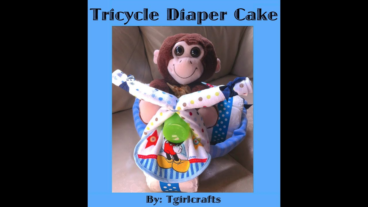 step by step how to make a tricycle diaper cake