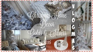 VLOGMAS| Christmas Home Decor Tour| GOLDS, SILVERS & WHITE| Mixed Metals faux white tree