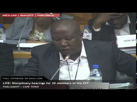 Julius Malema and 19 other EFF members walk out of parliamentary disciplinary seating
