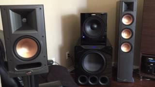 Blasting 50+ Speakers Klipsch SVS Velodyne Martin Logan subs Home Audio