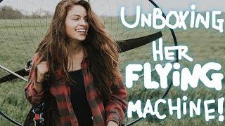 My Girlfriend got a FLYING MACHINE!!! Unboxing and First Flight! Parajet Maverick: Atom 80!!!
