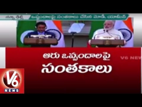 India And Maldives Signs 6 Agreements | Vow To Fight Terror | V6 News