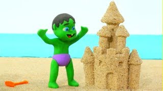 Baby Hulk & Frozen Elsa Play with Sand - Superhero Play Doh Cartoons & Stop Motion Movies