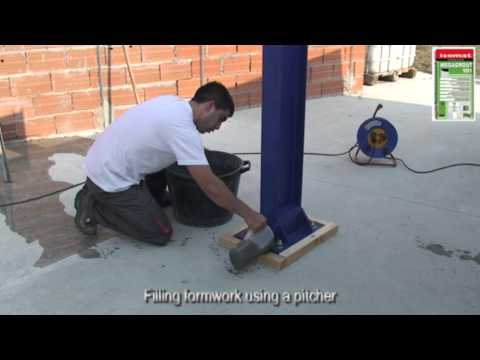 Precision grouting of steel column (pillar) with MEGAGROUT-101 by ISOMAT S.A.