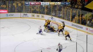 Irwin bats puck out of mid air to keep it out of Predators net