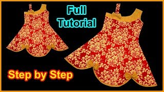 DIY Super Modern Designer Girls Baby Frock Cutting and Stitching Full Tutorial for Easy Way