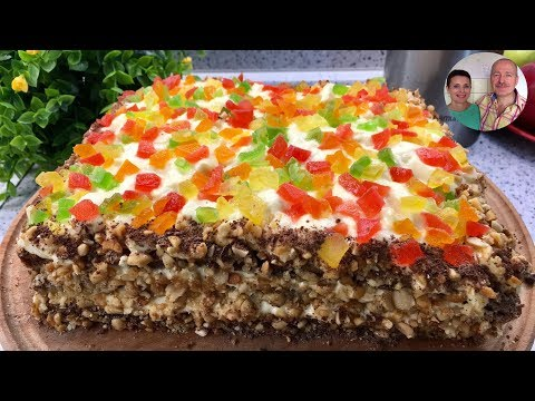 """Самый легкий и нежный торт без муки и масла! Торт """"Новогодний калейдоскоп""""!"""