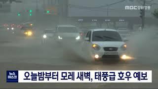오늘밤부터 모레 새벽, 영동 태풍급 호우 예보