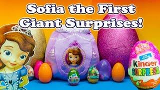 SOFIA the First Disney Giant Surprise Eggs & Basket a Disney Sofia Giant Surprise Egg Video