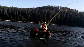 Float Tube Fanatics on the lake fishing and catching monster rainbow trout