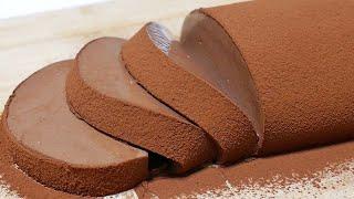 なめらかチョコレートムースケーキ【簡単♪ゼラチンで作る天使の食感】How to make chocolate mousse cake【it's a simple recipe】