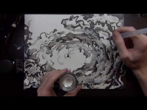 ,swooping & swirling inkwash & drawing,