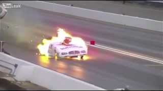 Funny Car Explodes, Driver Walks Out Like A Boss