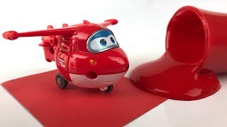 Super Wings Toys and Learn Colors with Finger Paint for Kids