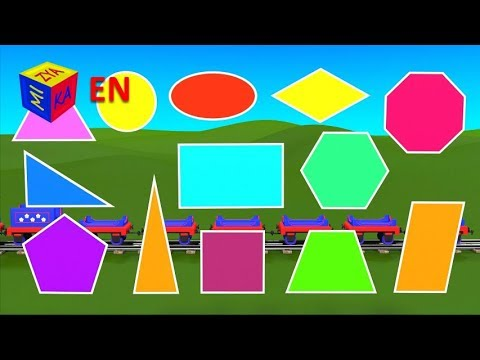 Shapes for children kindergarten preschoolers. Learn 2D Shapes with Choo-Choo Train - part 1