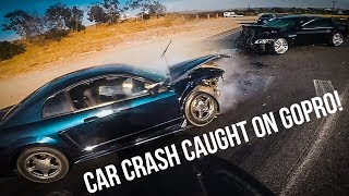 BIKERS HELP AT CARCRASH AND CATCH SUSPECT RUNNING AWAY!