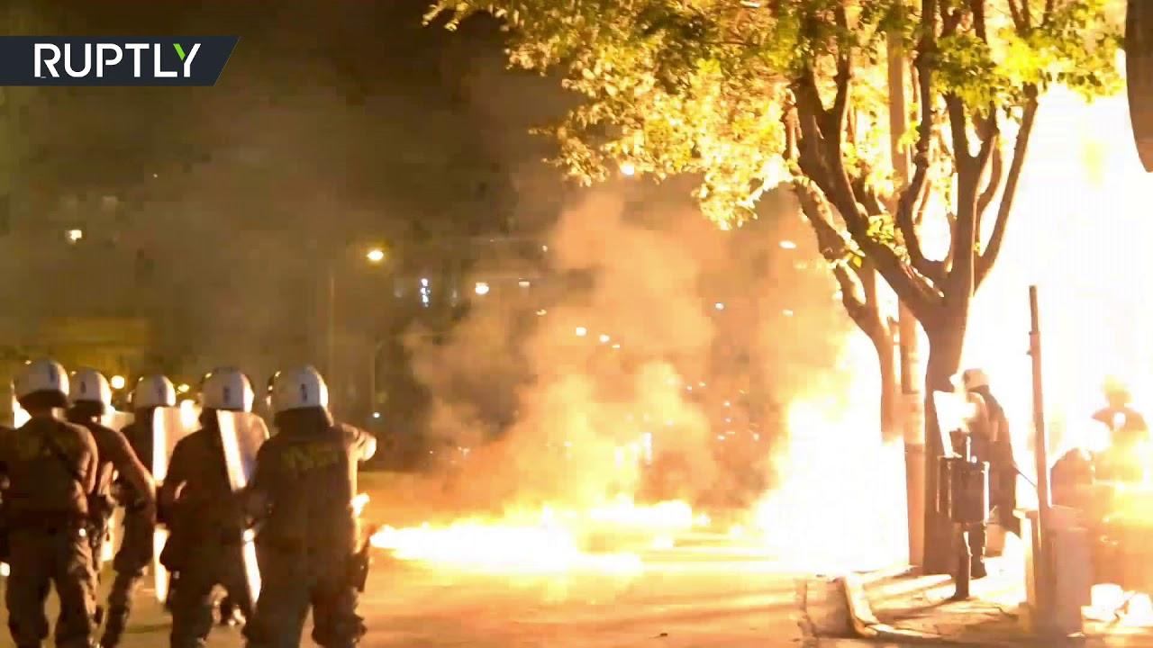 Molotov cocktails & flash bang grenades: Clashes erupt in Greece during Antifa protest
