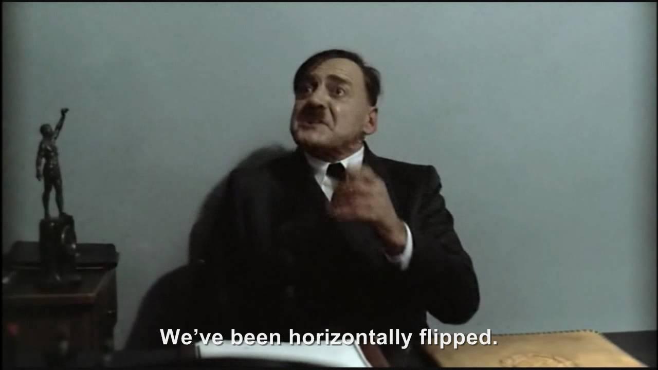 Hitler is horizontally flipped