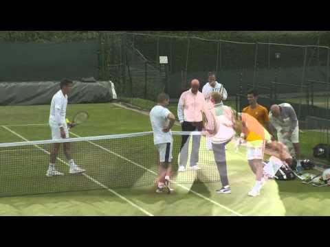 Wimbledon 2014 Djokovic Raonic Practice