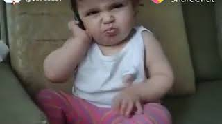 Funny baby phone talking