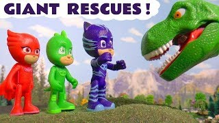 PJ Masks rescue dinosaurs with Thomas and Friends toy trains and funny Funlings TT4U