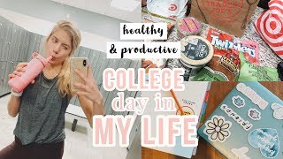 very productive college day in my life // working out, grocery haul, classes + more!