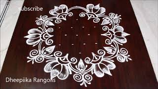 Creative art lotus rangoli with 9 dots // Dheepiika Rangolis