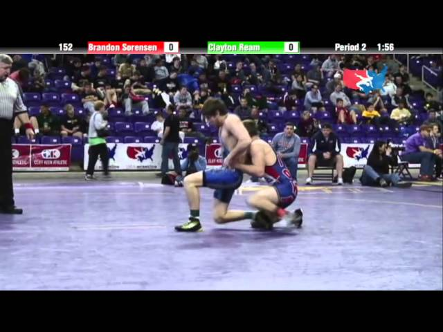 Junior 152 - Brandon Sorensen (Cedar Falls) vs. Clayton Ream (County Elite)