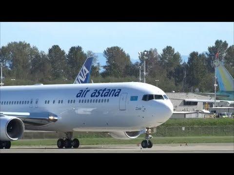NEW 767 Air Astana R.A.T. Landing & RTO @ KPAE