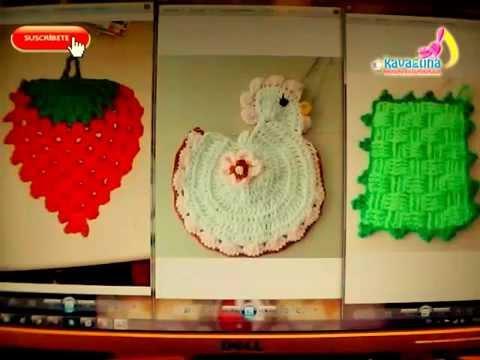 DIY 3 adornos para la cocina tejidos a crochet - YouTube