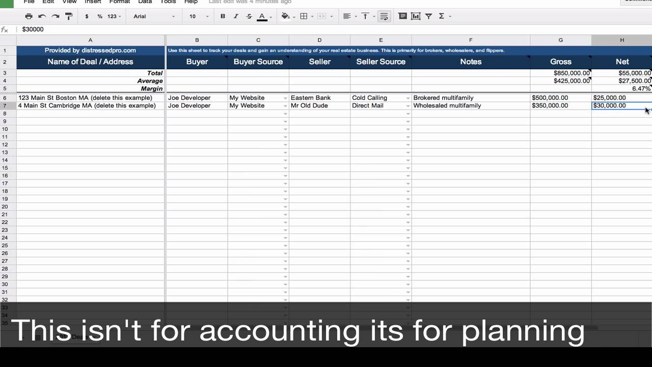 real estate transaction tracker spreadsheet template youtube. Black Bedroom Furniture Sets. Home Design Ideas